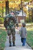stock photo of cameos  - Military Dad and Son Holding Hands Walking - JPG