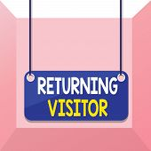 Conceptual Hand Writing Showing Returning Visitor. Business Photo Showcasing When Someone Returns To poster