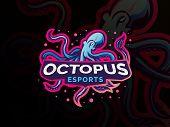 Wild Animal Vector Illustration. Squid, Kraken, Octopus Mascot Logo Design For Sport Team. Vector Es poster