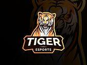Tiger Animal Mascot Head Vector Illustration Logo. Wild Cat Head Mascot, Tiger Head Emblem Design Fo poster