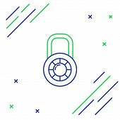 Blue And Green Line Safe Combination Lock Wheel Icon Isolated On White Background. Combination Padlo poster