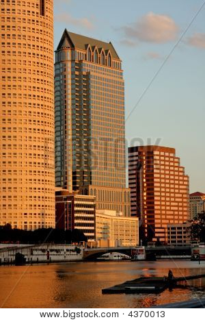 Tampa Skyline - Sunset View On Modern Skyscrapes