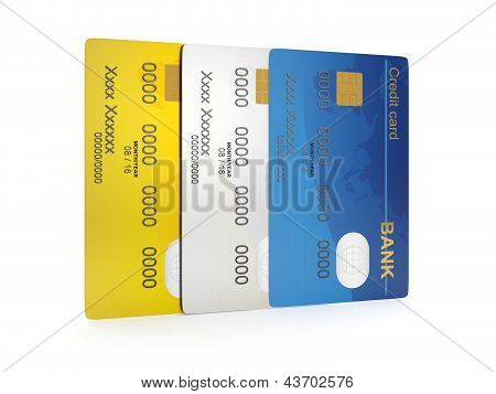 3D Illustration: A Group Of Credit Cards. Different Credit Cards