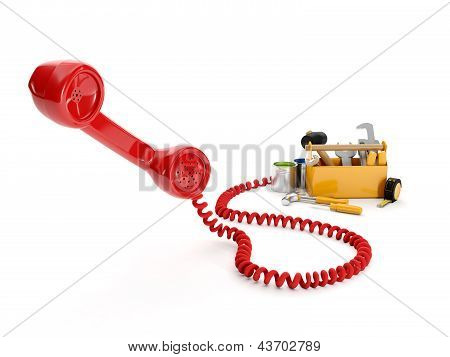 3D Illustration: Handset And A Group Of Instruments. Call The Builder Or Assistance
