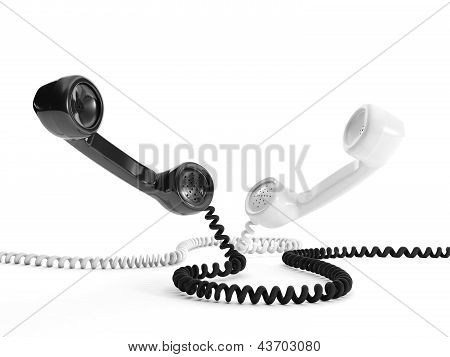 3D Illustration: Two Handsets Black And White