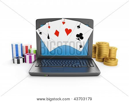 Laptop Casino Chips And Cards