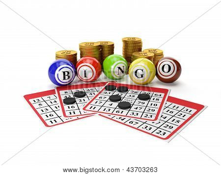 3D Illustration: Lottery Bingo And A Group Of Gold Coins. Gamble