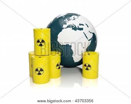 3D Illustration: Muddy Ground Nuclear Waste. Barrels Of Nuclear Waste And The Model Of The Earth On