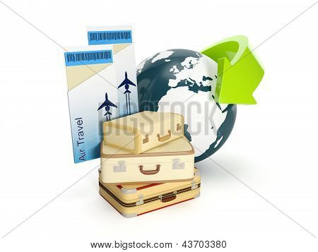 3D Illustration: Travel Holiday. The Suitcase And The Earth With A Plane Ticket On A White Backgroun