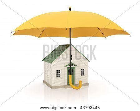 3D Illustration: Protecting Homes From Poor Conditions, An Umbrella