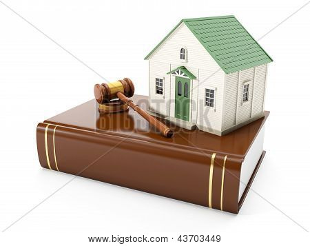 3d  Illustration: Protection Of The Rights Of A Private Property. The House Costs On Books With The