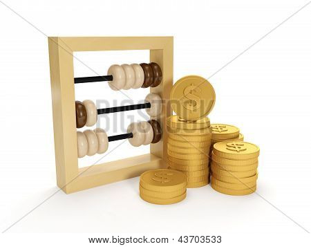 3D Illustration: Accounting. The Accounts And The Group Of Money On A White Background