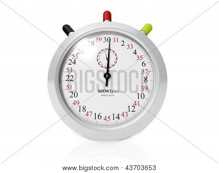 3D Illustration: Stopwatch On White Background
