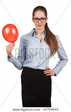 Business Woman Holding A Balloon Inflated