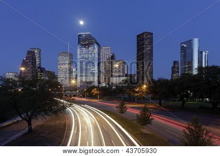 Houston Skyline at Night, Texas, USA