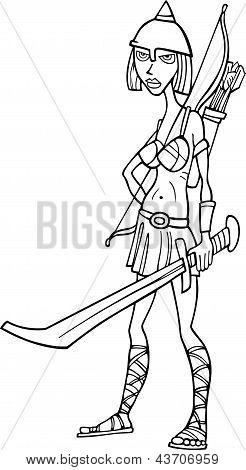 Ilustração dos desenhos animados do cavaleiro mulher