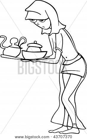 maid or slave woman cartoon illustration