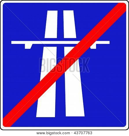 End of motorway sign