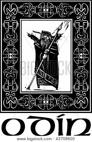 Norse God Odin With Border