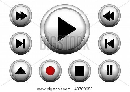 Media web buttons set
