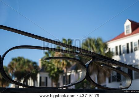 Charleston SC Through Wrought Iron