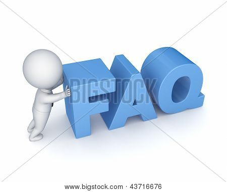 3d small person and word FAQ.