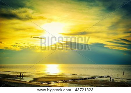 Golden Sunset Over North Sea
