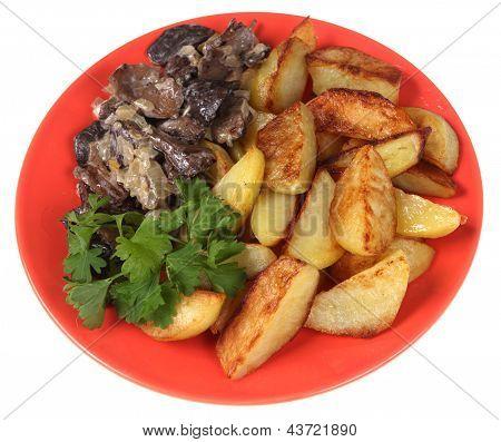 Fried Potato, Mushrooms And Parsley.