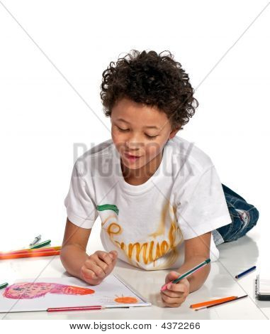 Boy Drawing On The Floor, Isolated On White Background