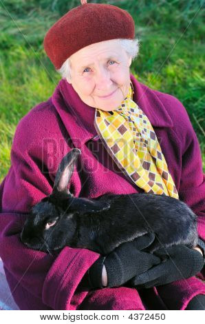 Old Woman With Black Rabbit