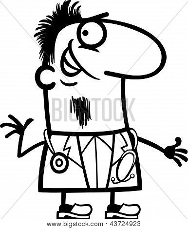 Doctor With Stethoscope Cartoon Illustration