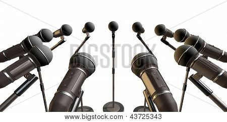 Microphones And Stands Array