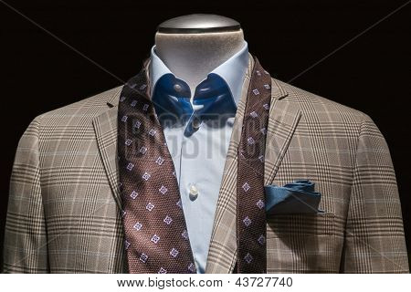 Tan Checkered Jacket, Blue Shirt, Untied Brown Tie & Teal Handkerchief