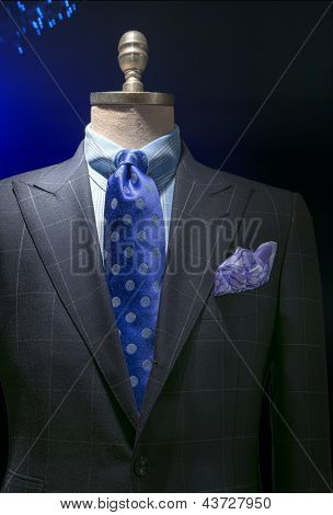 Light Gray Checkered Jacket With Checkered Shirt, Blue Polka Dots Tie & Handkerchief (vertical)