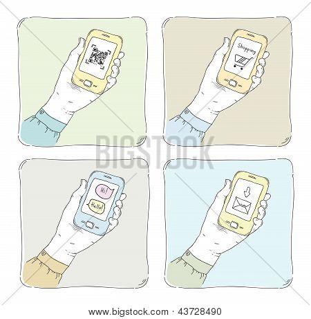 Using Smartphone Illustration Set