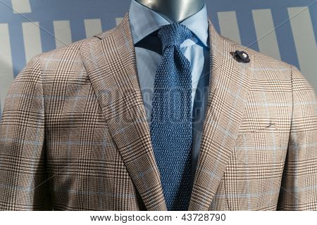 Tan Checkered Jacket With Blue Shirt & Blue Knit Tie (horizontal)