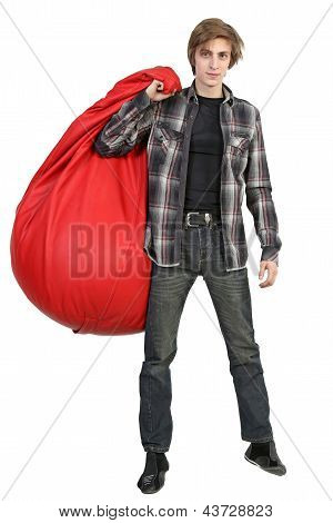 Caucasian Young Man With Bean Bag