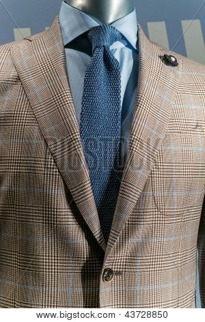 Tan Checkered Jacket With Blue Shirt & Blue Knit Tie (vertical)