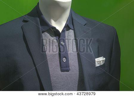 Gray Jacket With Gray & Navy Polo Shirt