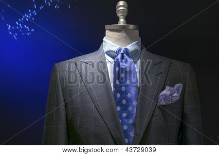 Gray Checkered Jacket With Checkered Shirt, Blue Polka Dots Tie & Handkerchief (horizontal)