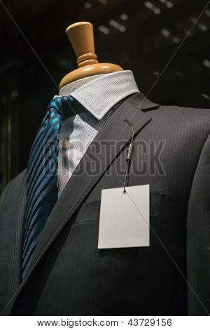 Dark Gray Striped Jacket With A Blank Tag (vertical)