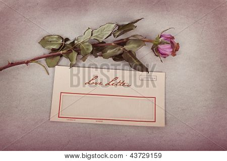 Love Letter In Vintage Style With A Rose