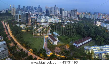 Singapore Skyline With Central Expressway At Dusk
