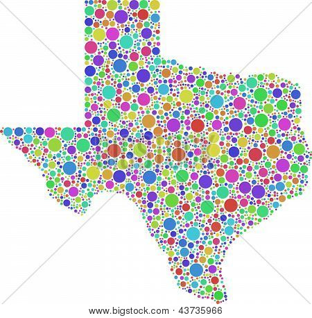 Decorative map of Texas - USA -