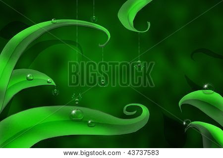 natural green background with drops of dew and little spiders