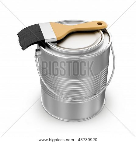 paint can with a paintbrush