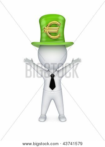 3d small person with sign of euro on top-hat.