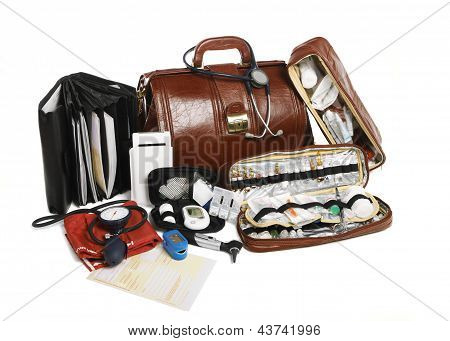 Doctors Brown Leather Bag With Stethoscope And Other Medical Equipment
