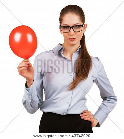 Pretty Woman With Inflated Red Ball