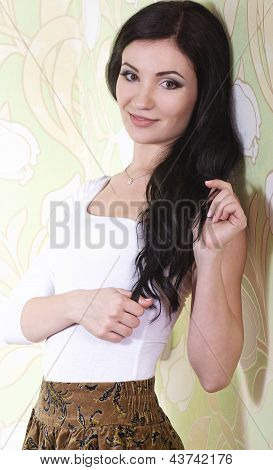 A photo of beautiful girl with black hair